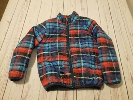 Size 7 boys Red/Blue plaid light weight long sleeve zip up jacket - $8.54