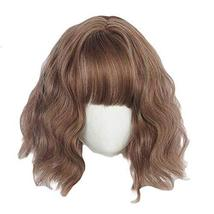 30 cm Brown Bob Short Curly Wave Synthetic Hair Wig Cosplay Wig Costume Full Wig