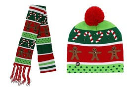 Lotsa Lites LED Flashing Christmas Hat And Matching Scarf Gingerbread - €24,75 EUR