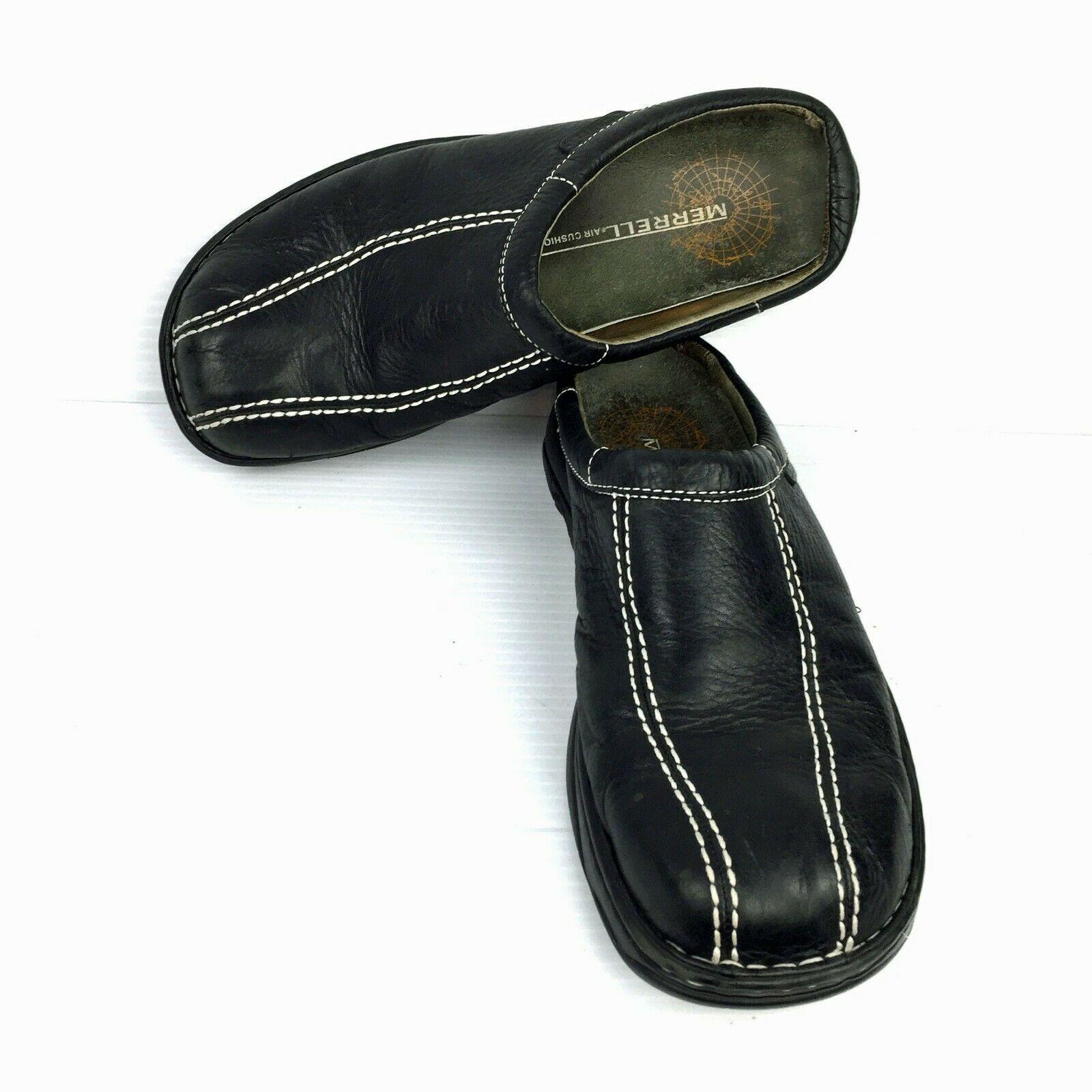 "MERRELL ""World Outlook"" Air Cushion Black Full Grain Leather Mules Size 11 W"