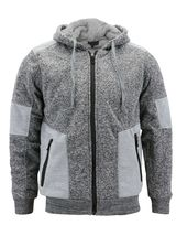 Men's Two Tone Warm Soft Sherpa Lined Moto Quilted Zipper Fleece Hoodie Jacket image 10