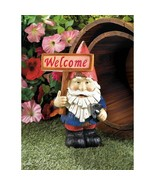 Welcome Gnome Solar Statue Yard Decor Light Up Welcome Sign - $23.40
