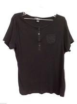 Style & Co. Woman Black Short Sleeve T Shirt 1X Plus 100% Cotton Knit Top - $12.99