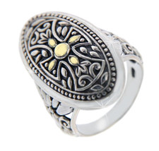 Solid Sterling Silver & 14 K Gold Cross Ring»R210 - $139.04