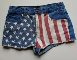 Forever 21 Jean Shorts Size 27 Womens Cutoff Flag Stripes Stars Raw Hem ... - $15.84
