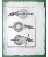 HOROLOGY Horizontal Clock Hour Ring  - 1783 Original Print Copperplate - $10.71