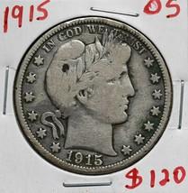 1915 Silver Barber Half Dollar 50¢ Coin Lot# A 614 image 1
