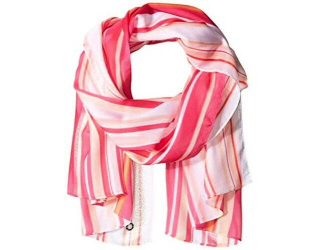 "Primary image for NWT Calvin Klein Hibiscus Pink Striped Semi-Sheer Scarf Wrap Shawl 26"" x 72"""