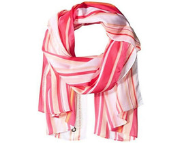 "NWT Calvin Klein Hibiscus Pink Striped Semi-Sheer Scarf Wrap Shawl 26"" x... - $12.86"