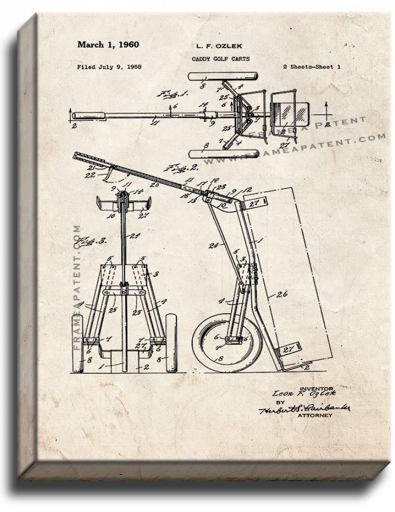 Primary image for Caddy Golf Carts Patent Print Old Look on Canvas