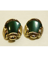 VTG Gold wash Silver tone metal Green lucite Thermoset clip on earrings - $19.01
