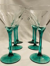 "Green Tulip Stem Martini Glasses With Clear Bowl 7"" Tall Set Of 6 - $34.65"