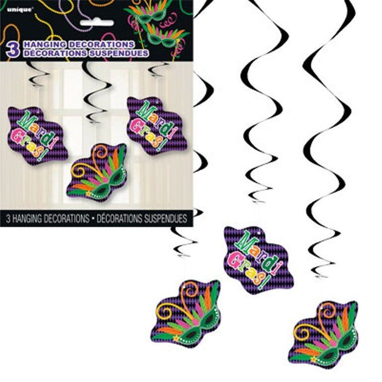 Mardi Gras! Party, 3 Hanging Swirl Decorations Cutouts