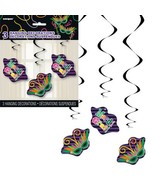 Mardi Gras! Party, 3 Hanging Swirl Decorations Cutouts - $7.60 CAD