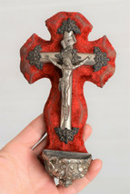 ⭐ antique French crucifix ,holy water font,19 th century ⭐ - $44.55