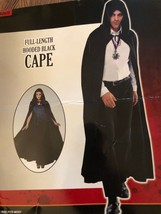 Mit Kapuze Erwachsene Volle Länge Schwarz Umhang Vampir Dracula Unisex 1... - $14.84
