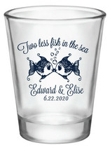 Personalized wedding shot glasses, two less fish in the sea wedding favors - $87.55+
