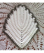 Thick Cotton Leaf Potholder Hot Pad Brown and White - $8.00