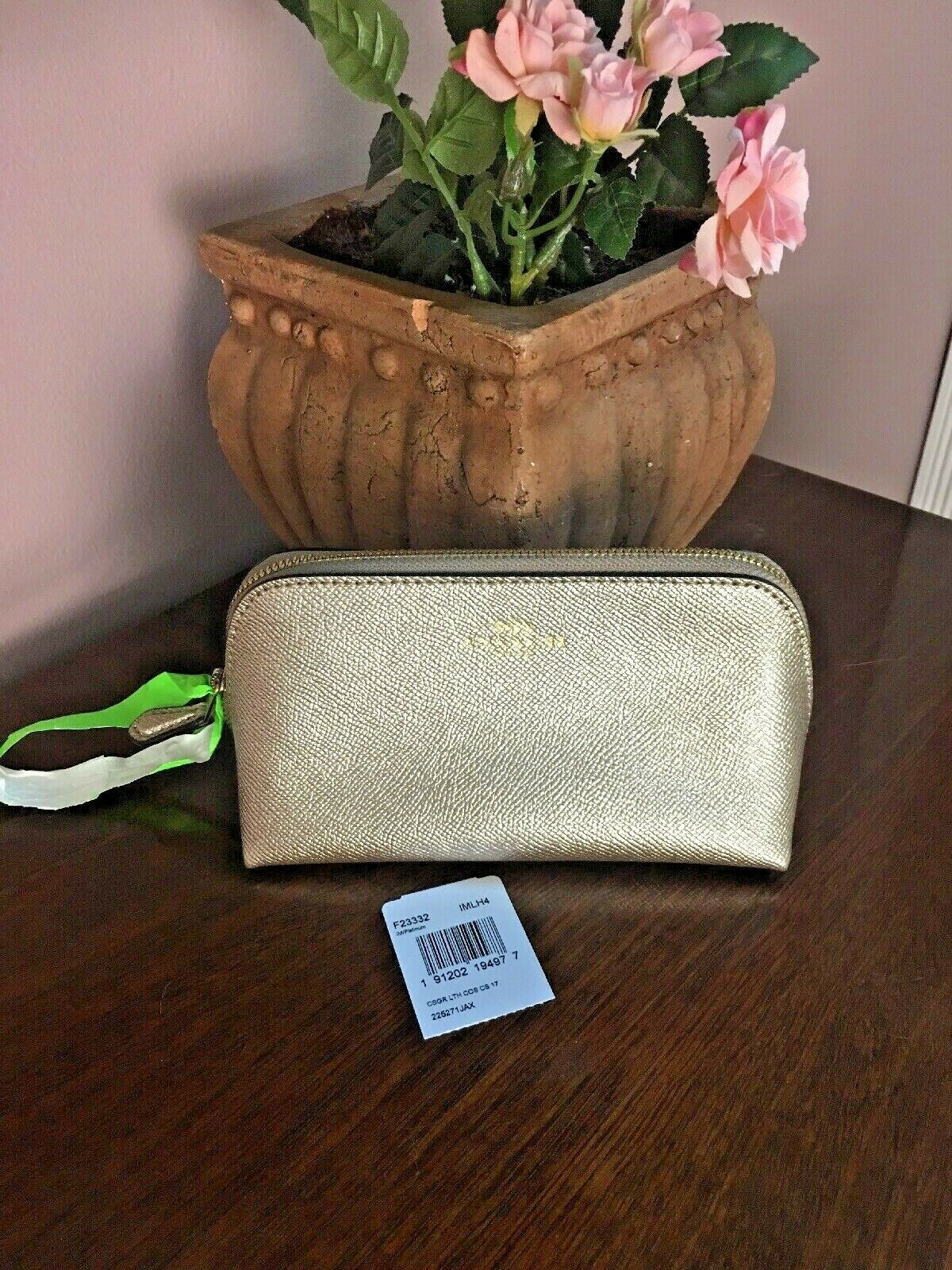 Primary image for Coach Cosmetic Bag 17 Crossgrain Leather F23332 Platinum Gold  M6
