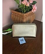 Coach Cosmetic Bag 17 Crossgrain Leather F23332 Platinum Gold  M6 - $64.34