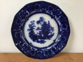 "Antique Chen-Si John Meir Oriental Pagoda Flow Blue Willow Ironstone Plate 8.5"" - $100.00"