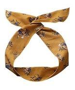 Womens Self Tie Twist Bowknot Headband Sweet Yellow Florals Chiffon Hair... - $20.50