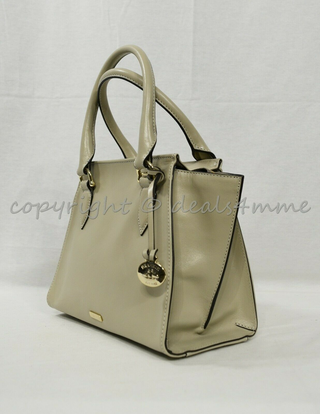 NWT Brahmin Mini Priscilla Smooth Leather Satchel/Shoulder Bag in Sand Topsail image 8