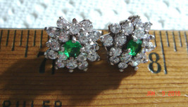 VTG 925 STERLING SILVER DIAMONIQUE CZ EMERALD STUD STEAMPUNK PRINCESS EA... - $87.99