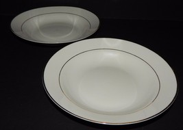 2 Gibson Designs Housewares Everyday China White w/ Gold Rim Soup Cereal Bowls - $23.76