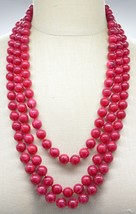 Red Marbled Acrylic Bead Beaded Gold Tone Multi-Strand Necklace Vintage - $34.64