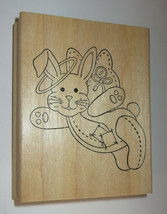 Bunny Angel Rubber Stamp Halo Wings Patchwork Buttons Rabbit Animals Pets - $8.90
