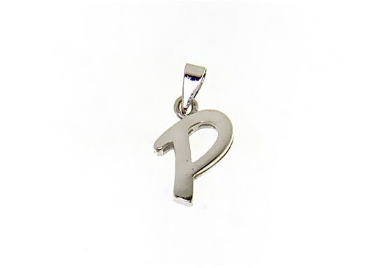 18K WHITE GOLD LUSTER PENDANT WITH INITIAL P LETTER  P MADE IN ITALY 0.71 INCHES