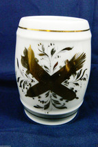 BH LIMOGES DECOR MAIN FRANCE WHITE & GOLD PATTERN PORCELAIN JAR GLASS - $16.63