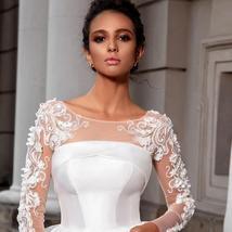 European Princess Satin Maternity Wedding Gown A-line Long Sleeve Floral Appliqu image 4