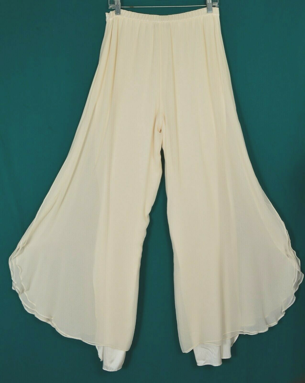 St John pants Evening SZ 8 off-white cream 2-layer silk long slits on leg USA image 2