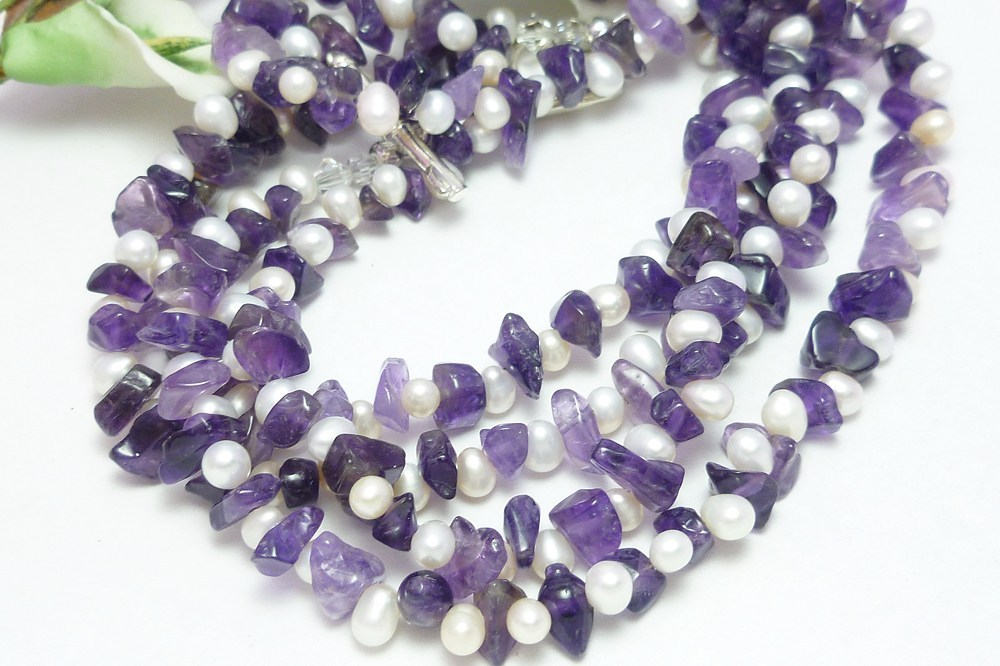 Amethyst Gemstone Nugget White Freshwater Pearl Long Necklace 41 Inch