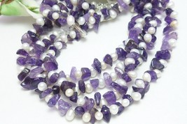 Amethyst gemstone nugget white freshwater pearl long necklace 41 inch b41c66be 784958 thumb200