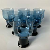 Lenox Clarion Blue Water Goblets Vintage 80s Set of 6 - $49.49