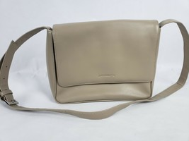 Liz Claiborne Womens Purse Faux Leather Beige Crossbody Messenger Bag Handbag - $17.22