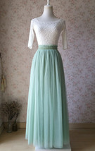 SAGE GREEN Bridesmaid Tulle Skirt Sage Green 2020 Wedding Outfit High Waist Maxi image 7