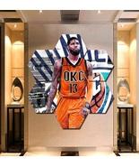 OKC Paul George Canvas Painting Poster Print Decor 7 Hexagon Panels Wall... - $94.99+