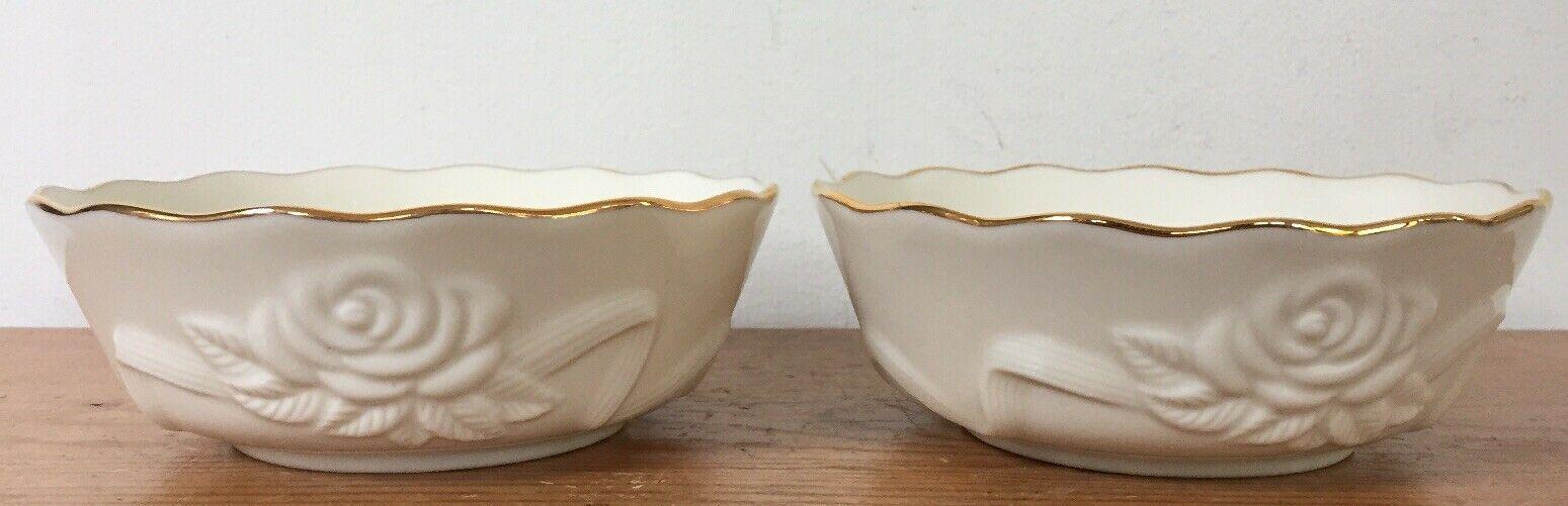 "Pair Lenox Roses Floral Cream White Gold Rimmed Decorative Soup Bowls 5.5"" Wide - $46.99"