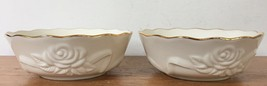 Pair Lenox Roses Floral Cream White Gold Rimmed Decorative Soup Bowls 5.... - $46.99