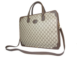 GUCCI Vintage GG Web PVC Canvas Leather Browns Business Bag with Strap G... - $359.00