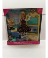 Blonde Teacher Barbie Doll Set brown hair boy #13914 New Never Removed  - $23.71