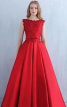 Long Scoop V Back Red Lace Organza Corset Bridesmaid Wedding Dresses with Sash - $115.00