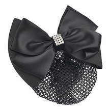Ladies Bowtie Spring Clip Barrette Hair Clip Snood Net Hair Pin, Black - $11.66