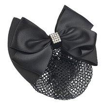 Ladies Bowtie Spring Clip Barrette Hair Clip Snood Net Hair Pin, Black - $11.66