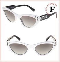 MIU MIU LOGO CRYSTAL 05T Black White Thin Cat Eye Sunglasses MU05TS Auth... - $237.60