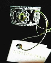 JUDITH RIPKA NEW CANARY CRYSTAL WITH WHITE SAPPHIRE FLEUR FILIGREE RING ... - $209.95